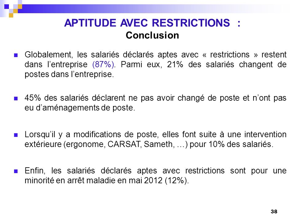 APTITUDE AVEC RESTRICTIONS :