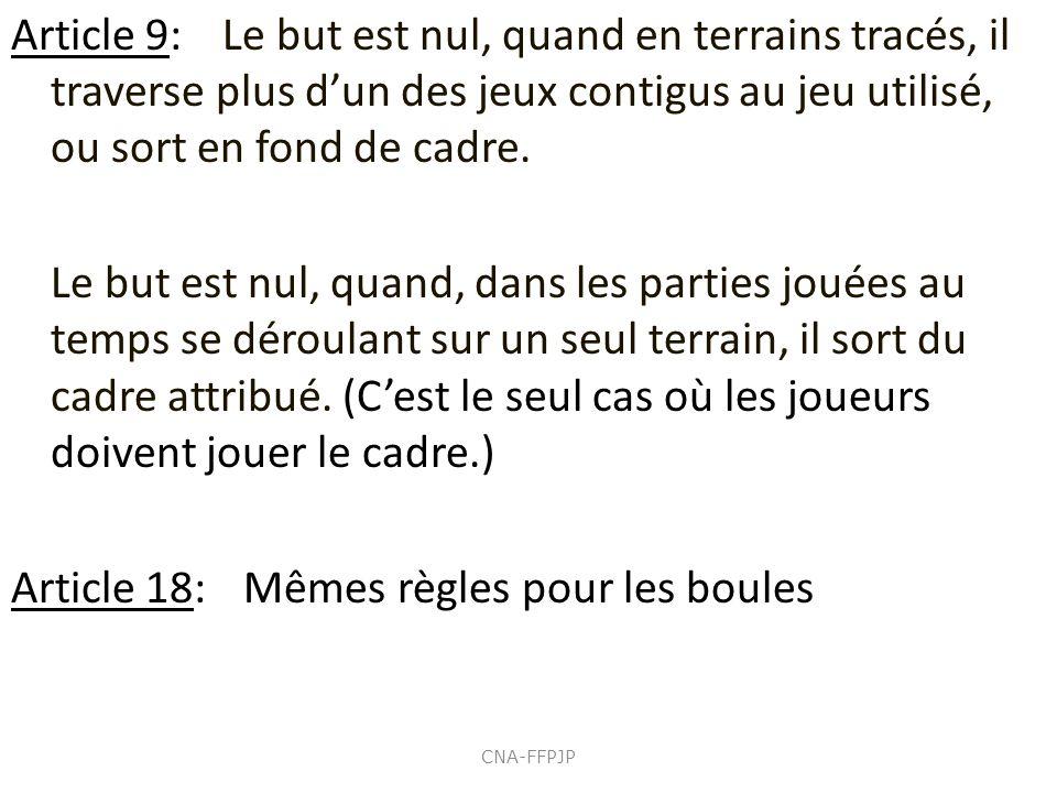 Article 18: Mêmes règles pour les boules