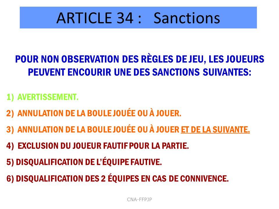 ARTICLE 34 : Sanctions POUR NON OBSERVATION DES RÈGLES DE JEU, LES JOUEURS PEUVENT ENCOURIR UNE DES SANCTIONS SUIVANTES: