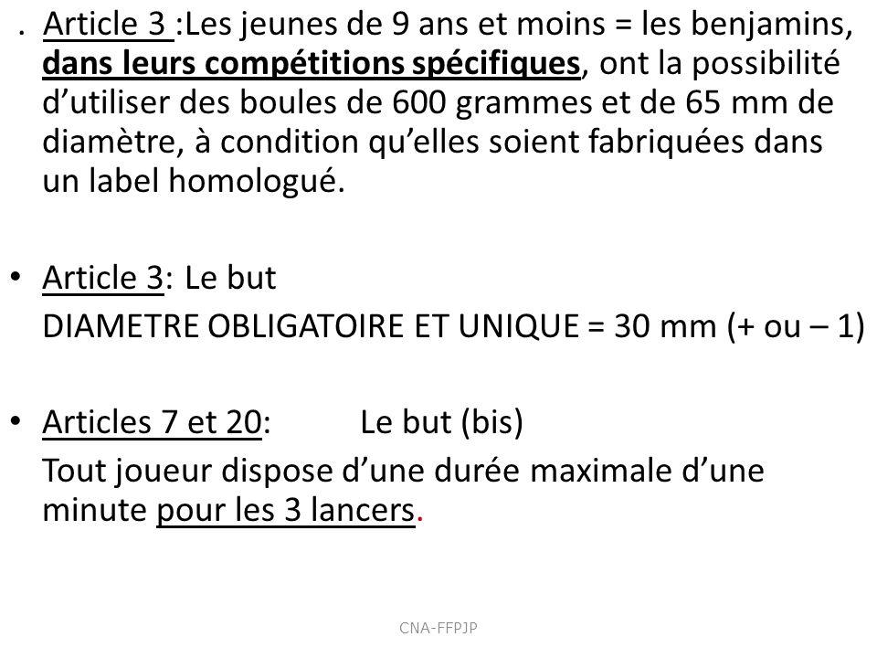 DIAMETRE OBLIGATOIRE ET UNIQUE = 30 mm (+ ou – 1)