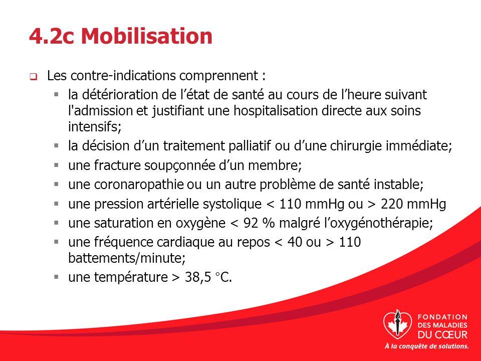 4.2c Mobilisation Les contre-indications comprennent :