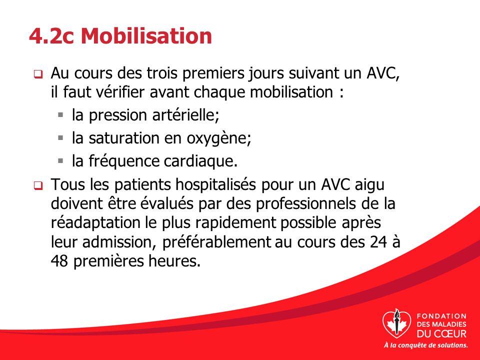 4.2c Mobilisation Au cours des trois premiers jours suivant un AVC, il faut vérifier avant chaque mobilisation :