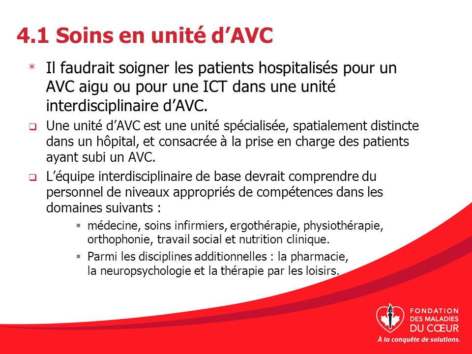 4.1 Soins en unité d'AVC Il faudrait soigner les patients hospitalisés pour un AVC aigu ou pour une ICT dans une unité interdisciplinaire d'AVC.