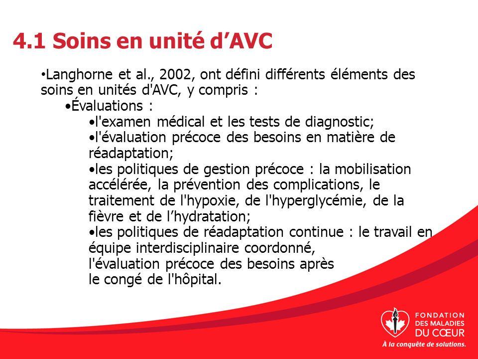 4.1 Soins en unité d'AVC Langhorne et al., 2002, ont défini différents éléments des soins en unités d AVC, y compris :