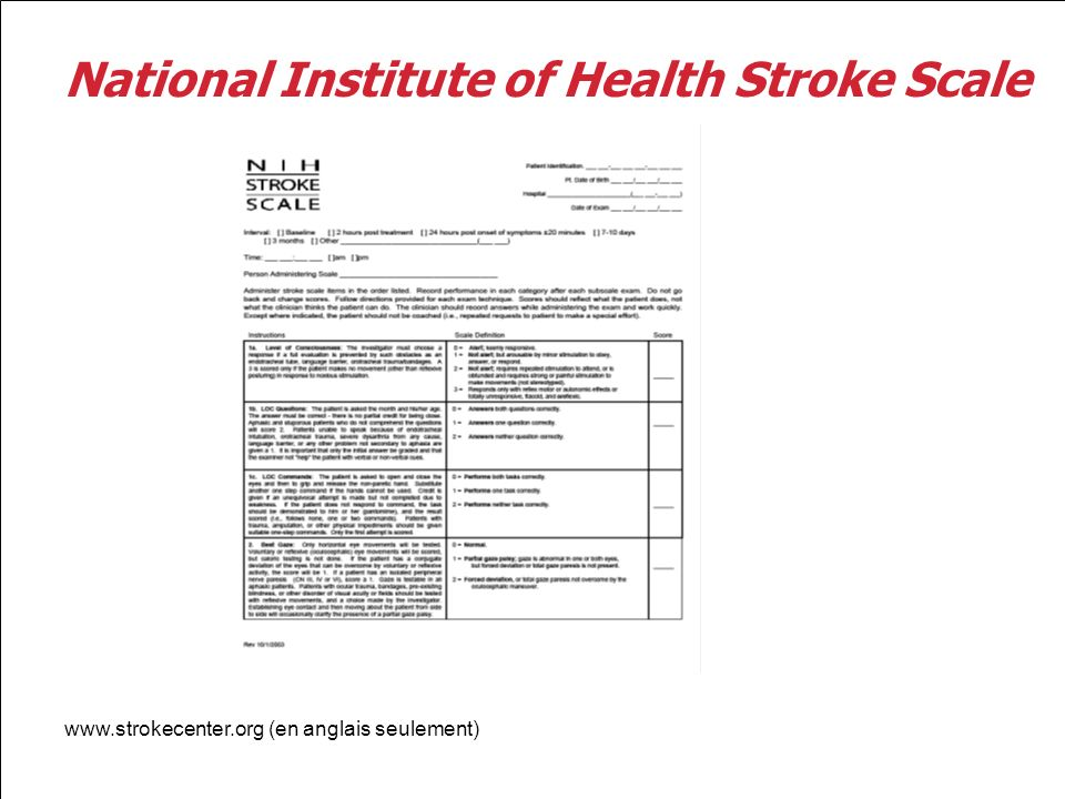 National Institute of Health Stroke Scale