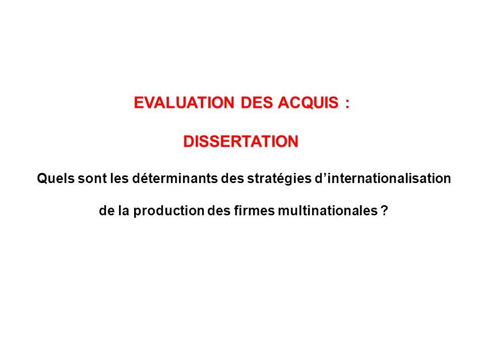 EVALUATION DES ACQUIS : DISSERTATION