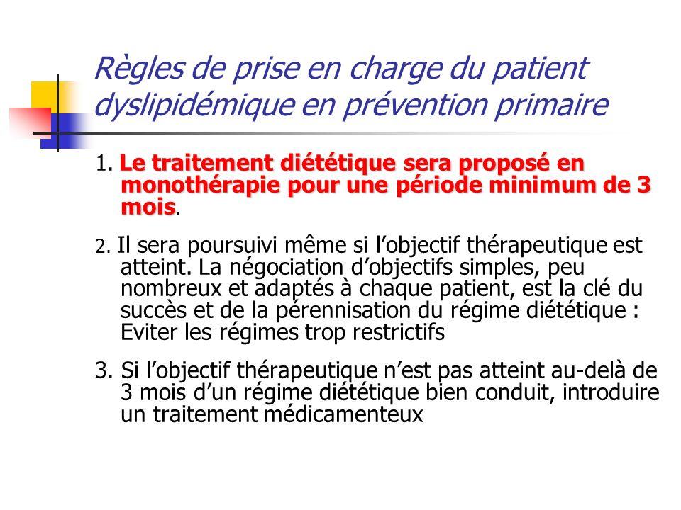 Règles de prise en charge du patient dyslipidémique en prévention primaire