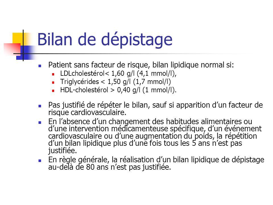 Bilan de dépistage Patient sans facteur de risque, bilan lipidique normal si: LDLcholestérol< 1,60 g/l (4,1 mmol/l),
