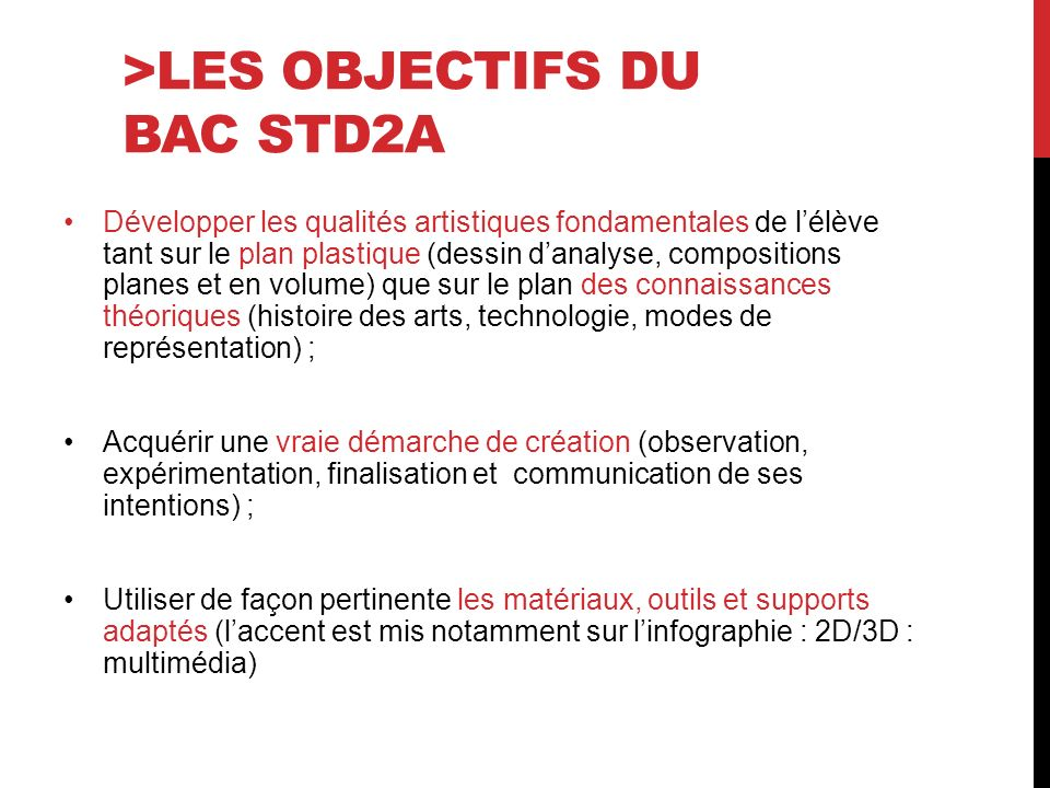 >Les objectifs du bac STD2A