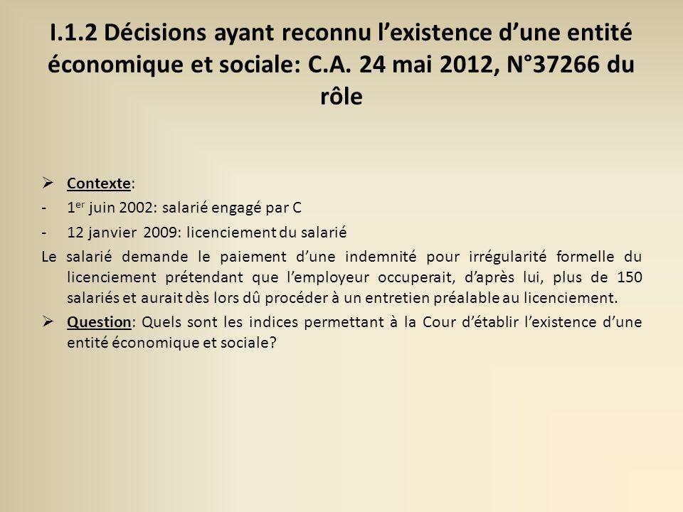 I.1.2 Décisions ayant reconnu l'existence d'une entité économique et sociale: C.A. 24 mai 2012, N°37266 du rôle