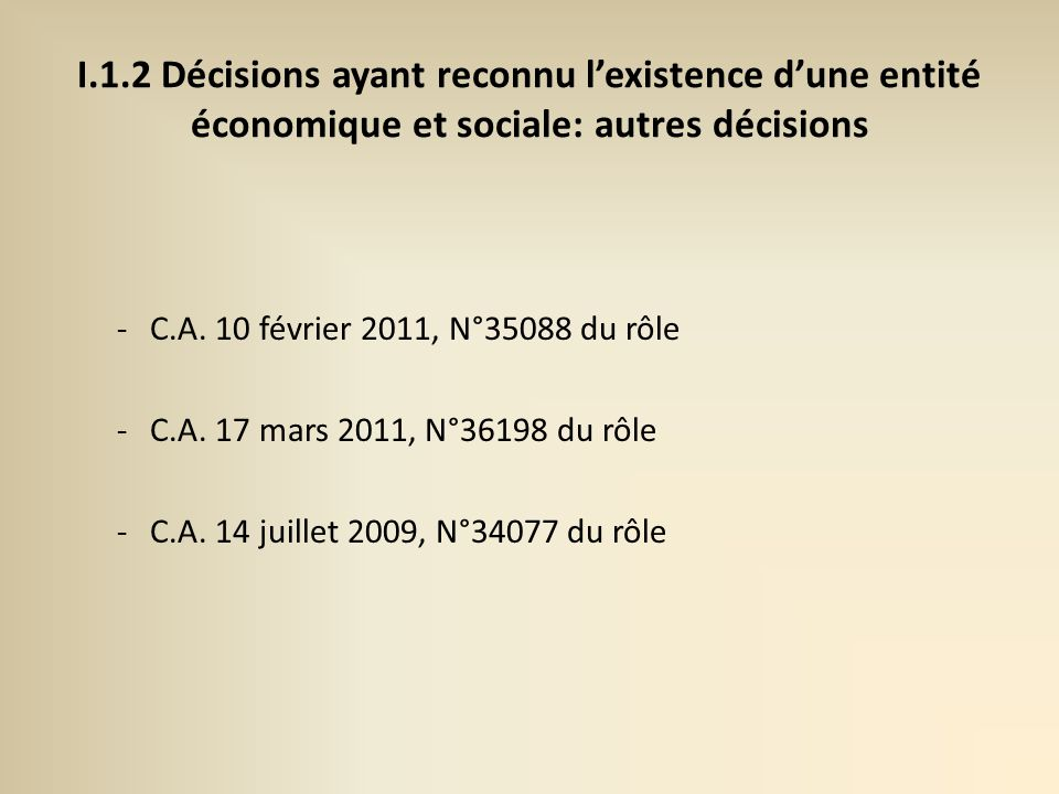 I.1.2 Décisions ayant reconnu l'existence d'une entité économique et sociale: autres décisions