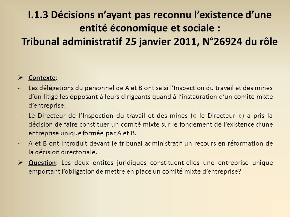 I.1.3 Décisions n'ayant pas reconnu l'existence d'une entité économique et sociale : Tribunal administratif 25 janvier 2011, N°26924 du rôle