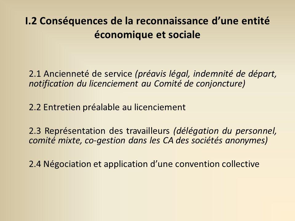 I.2 Conséquences de la reconnaissance d'une entité économique et sociale