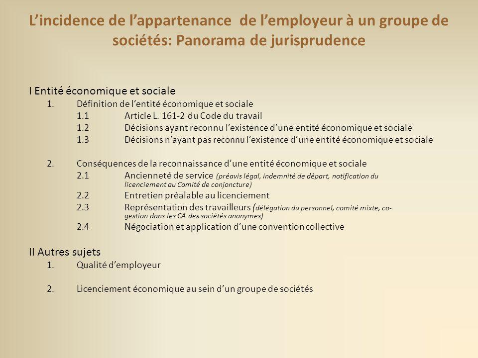 L'incidence de l'appartenance de l'employeur à un groupe de sociétés: Panorama de jurisprudence