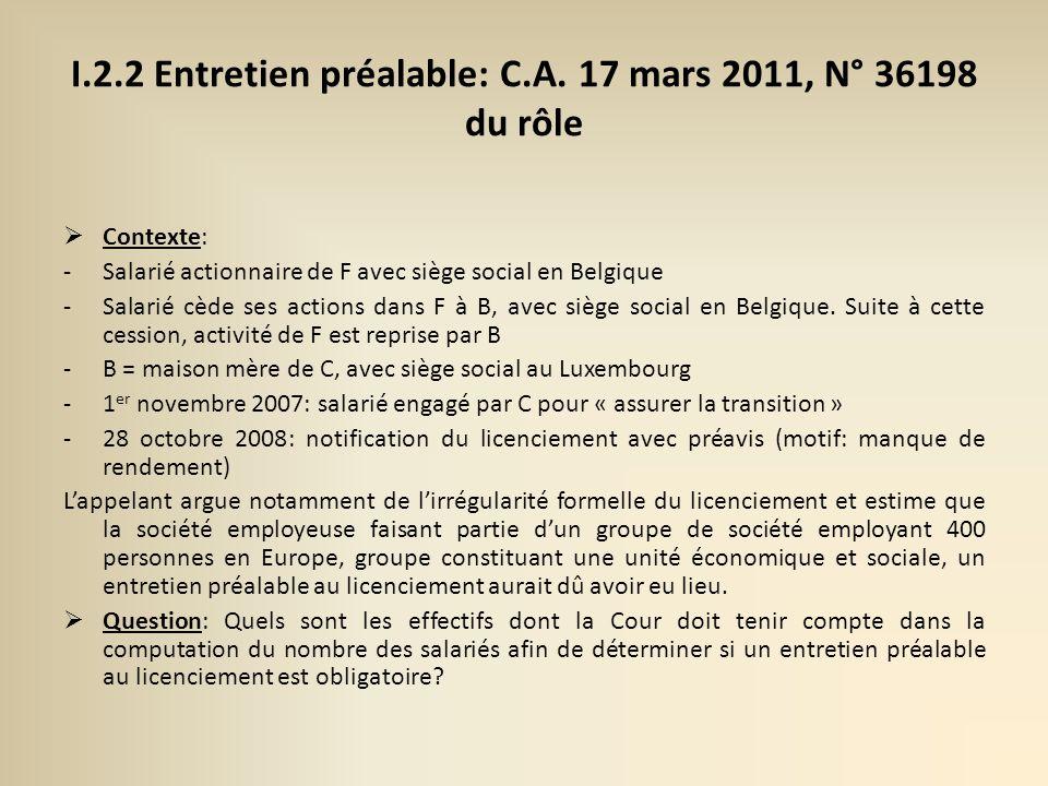I.2.2 Entretien préalable: C.A. 17 mars 2011, N° 36198 du rôle