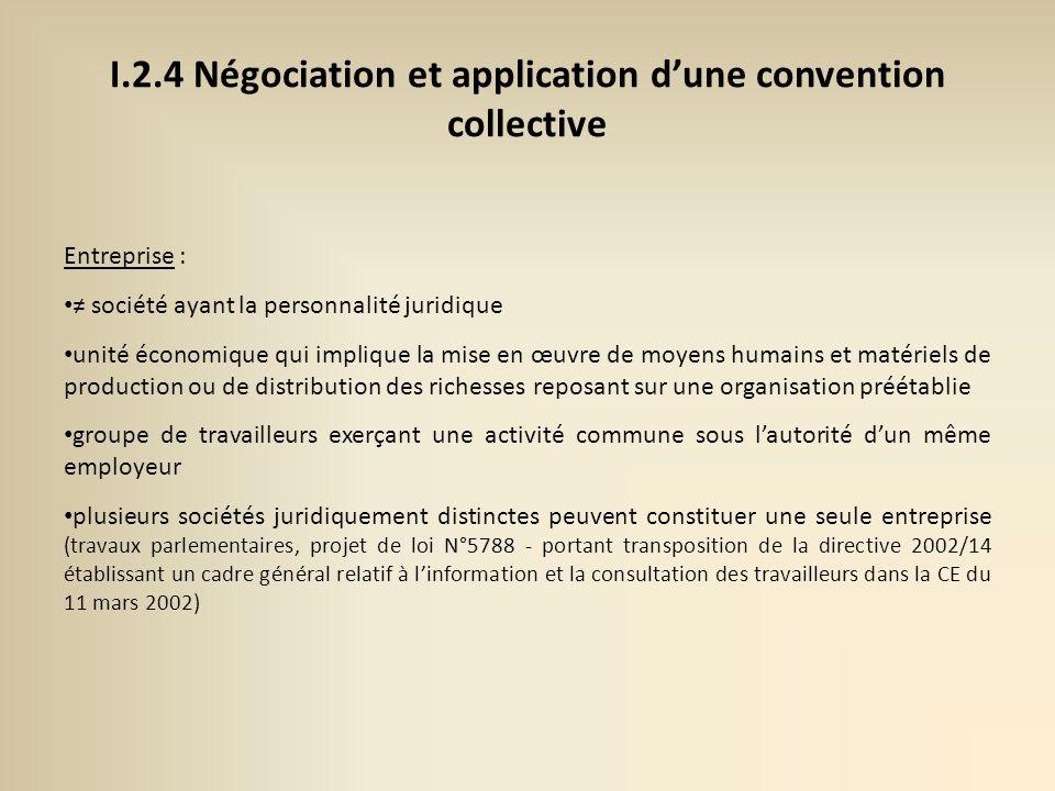 I.2.4 Négociation et application d'une convention collective