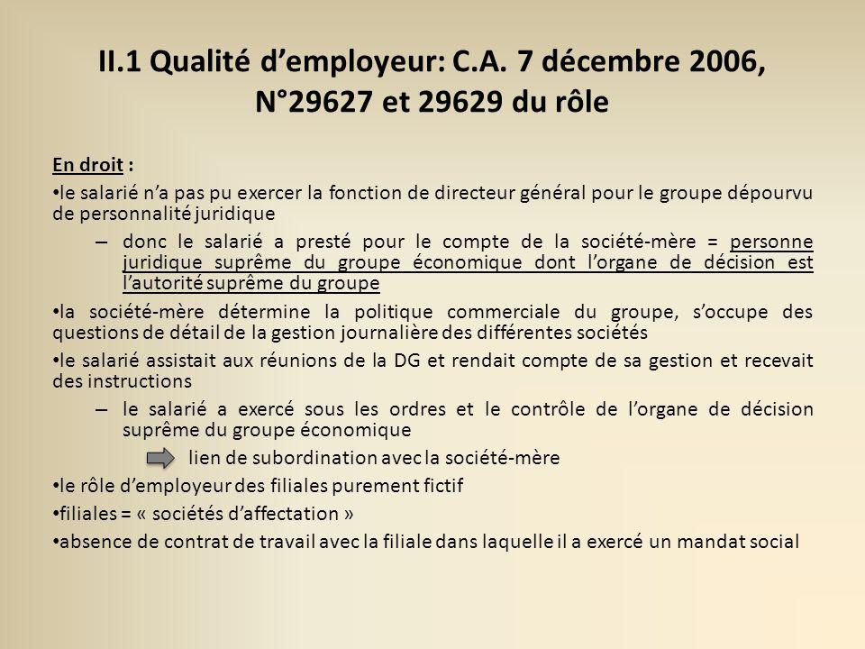II. 1 Qualité d'employeur: C. A