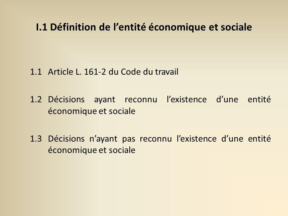 I.1 Définition de l'entité économique et sociale