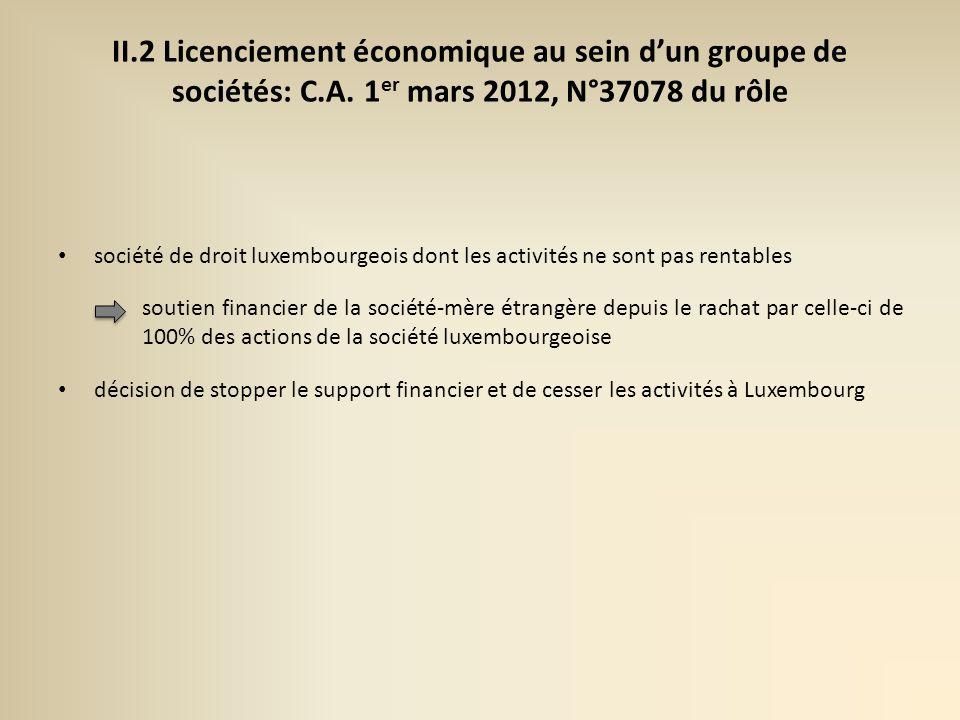 II. 2 Licenciement économique au sein d'un groupe de sociétés: C. A