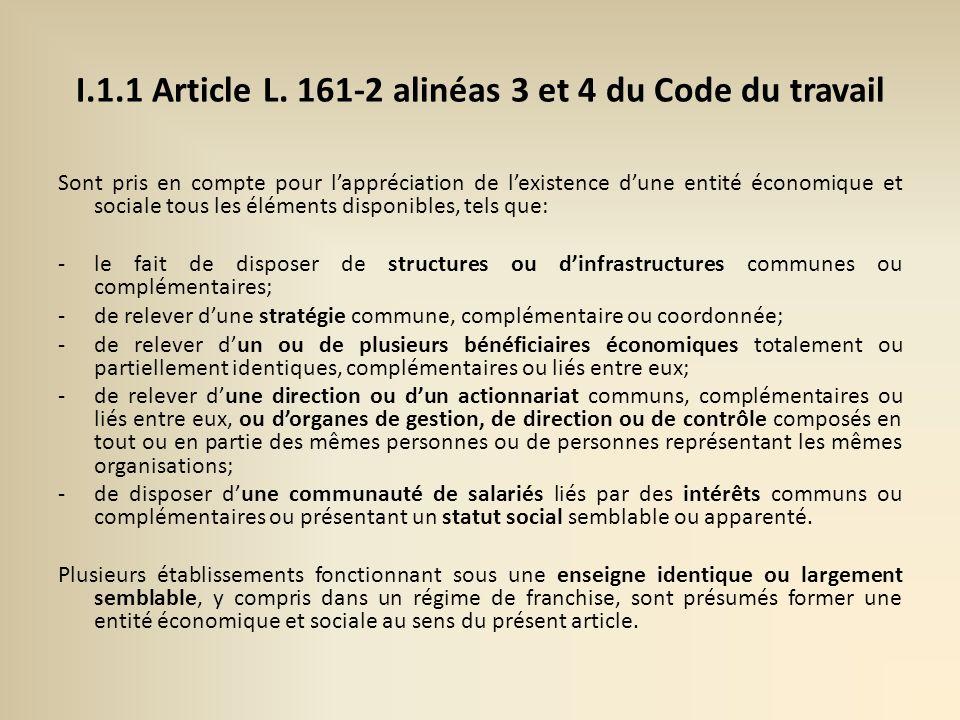 I.1.1 Article L. 161-2 alinéas 3 et 4 du Code du travail