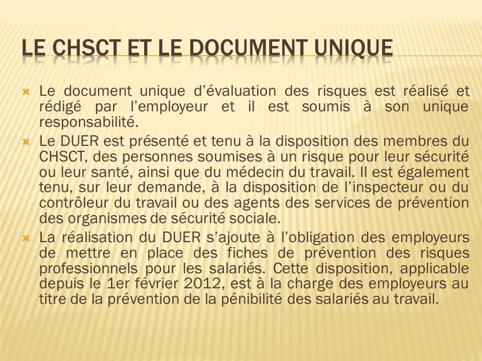 Le CHSCT et le document unique