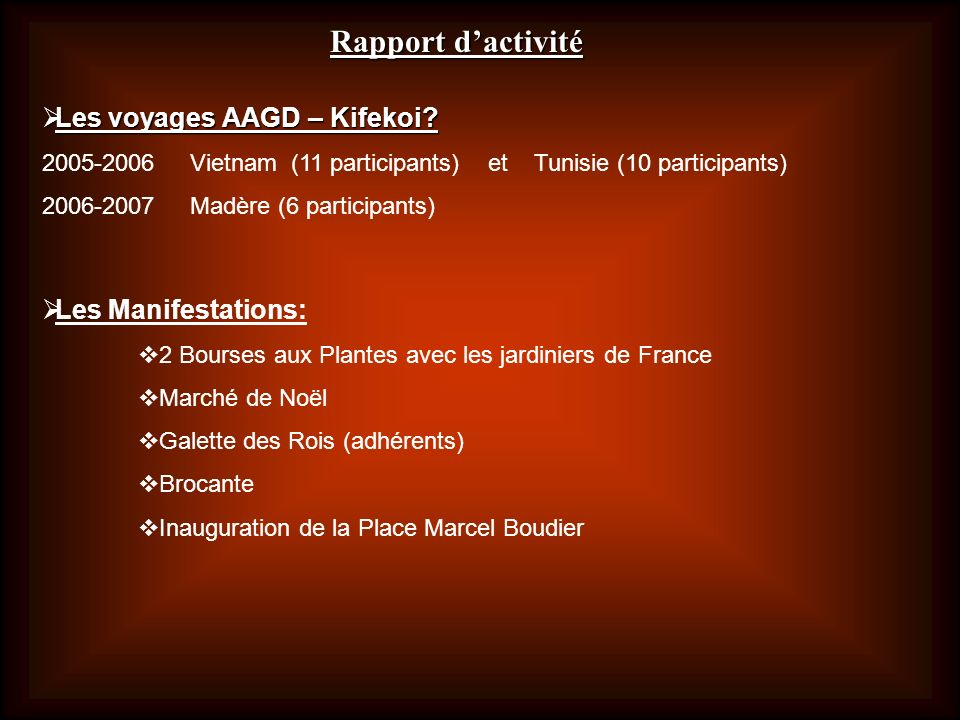 Rapport d'activité Les voyages AAGD – Kifekoi Les Manifestations: