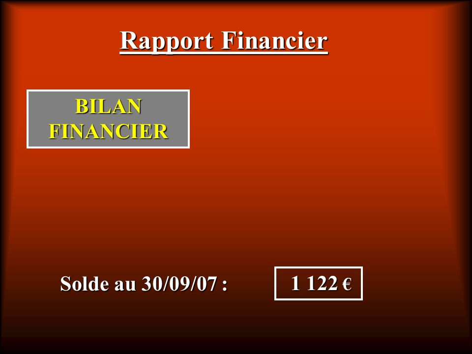 Rapport Financier BILAN FINANCIER Solde au 30/09/07 : 1 122 €