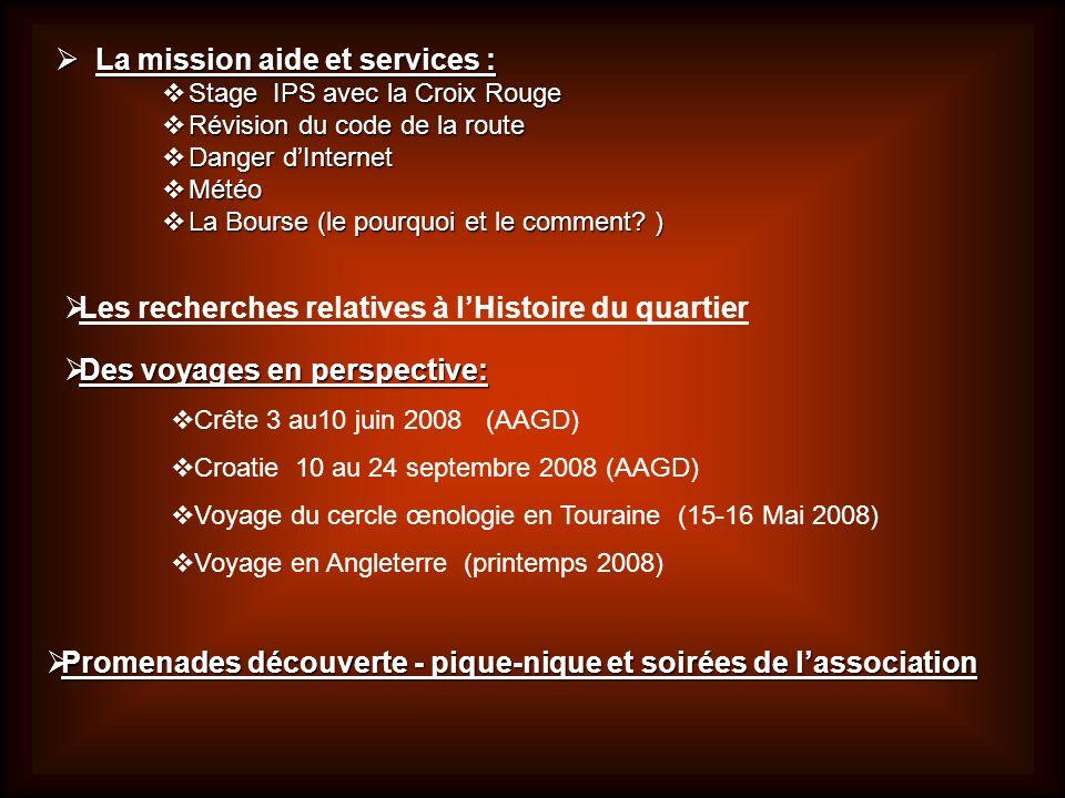 La mission aide et services :