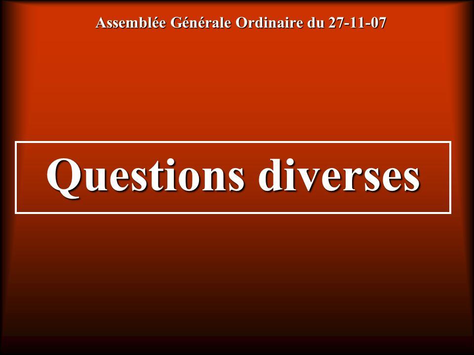Assemblée Générale Ordinaire du 27-11-07