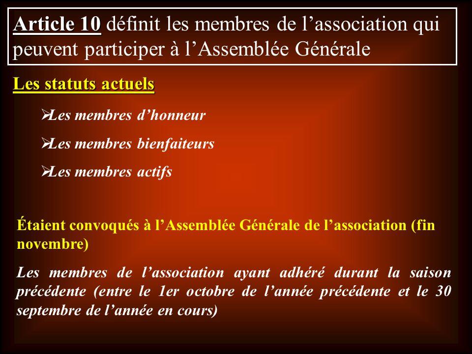 Article 10 définit les membres de l'association qui peuvent participer à l'Assemblée Générale
