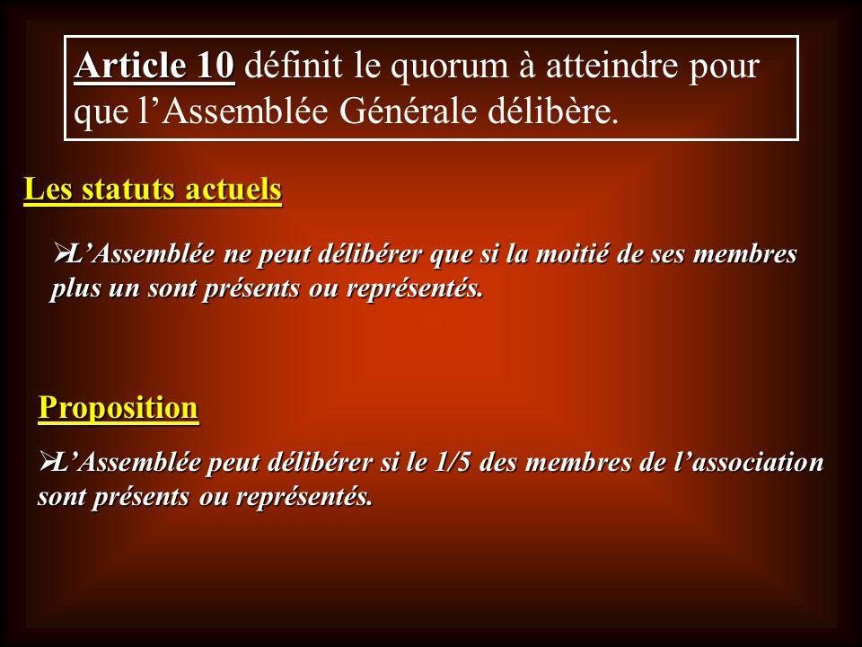 Article 10 définit le quorum à atteindre pour que l'Assemblée Générale délibère.