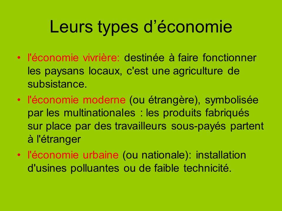 Leurs types d'économie