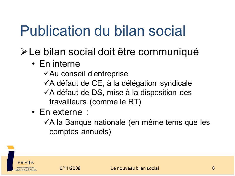 Publication du bilan social