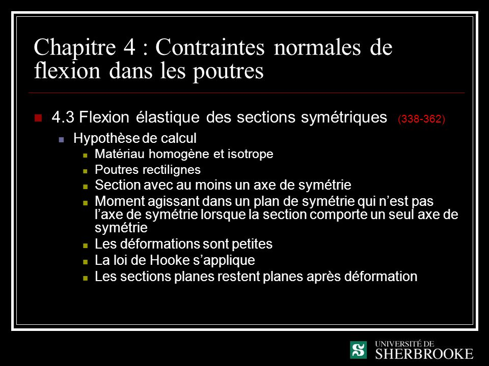 Chapitre 4 : Contraintes normales de flexion dans les poutres