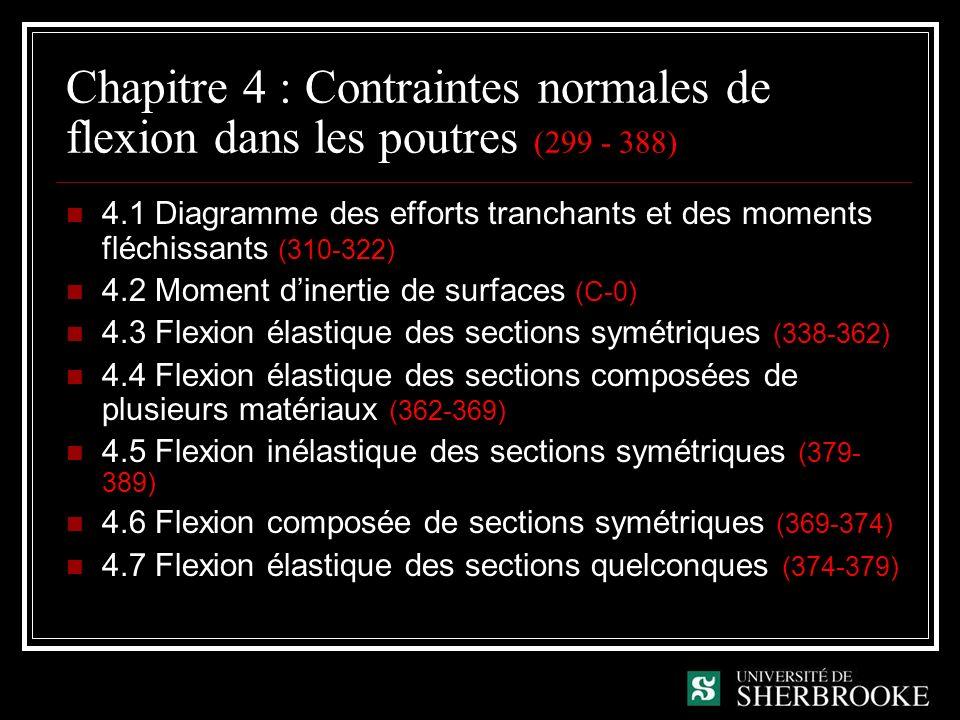 Chapitre 4 : Contraintes normales de flexion dans les poutres (299 - 388)