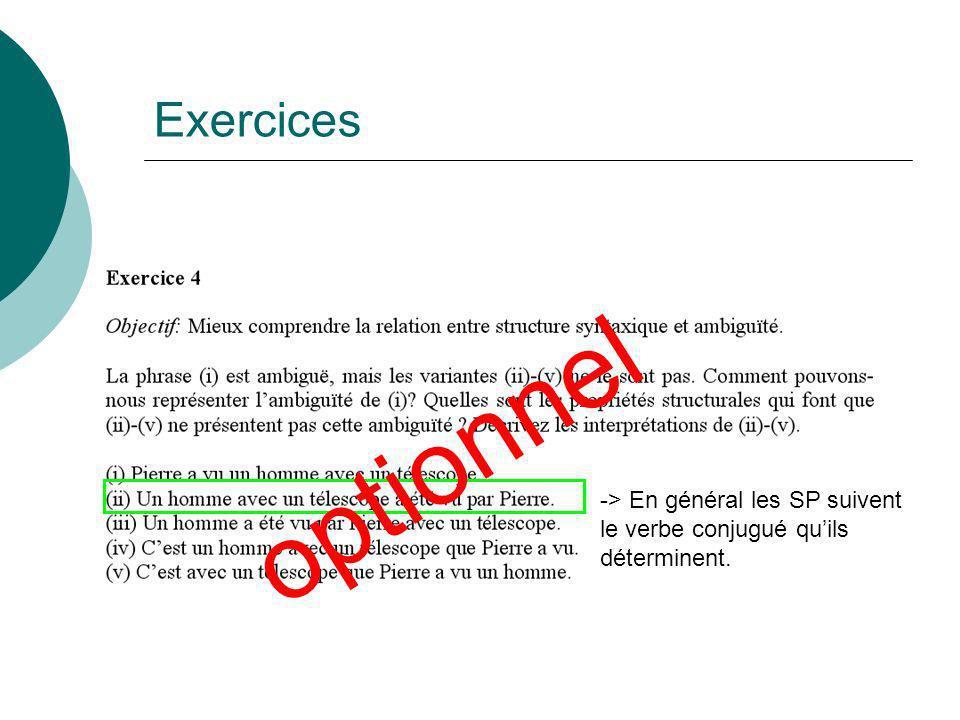 Exercices optionnel -> En général les SP suivent le verbe conjugué qu'ils déterminent.