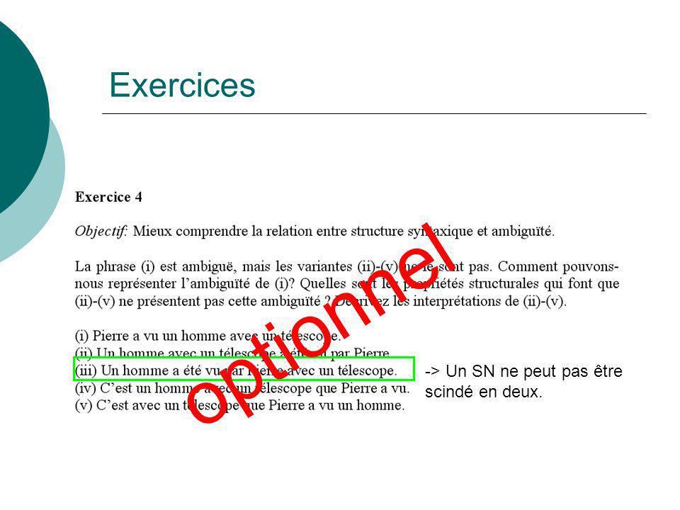 Exercices optionnel -> Un SN ne peut pas être scindé en deux.