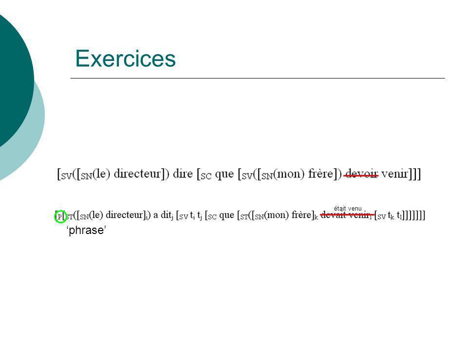 Exercices était venu 'phrase'