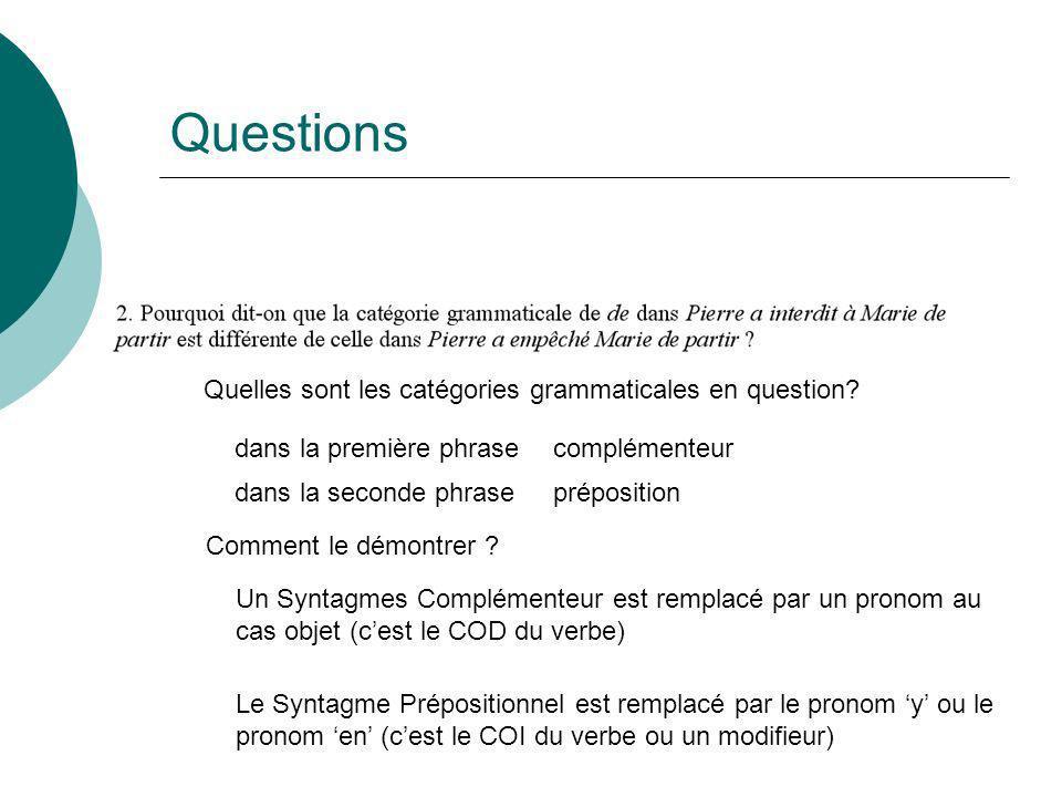 Questions Quelles sont les catégories grammaticales en question