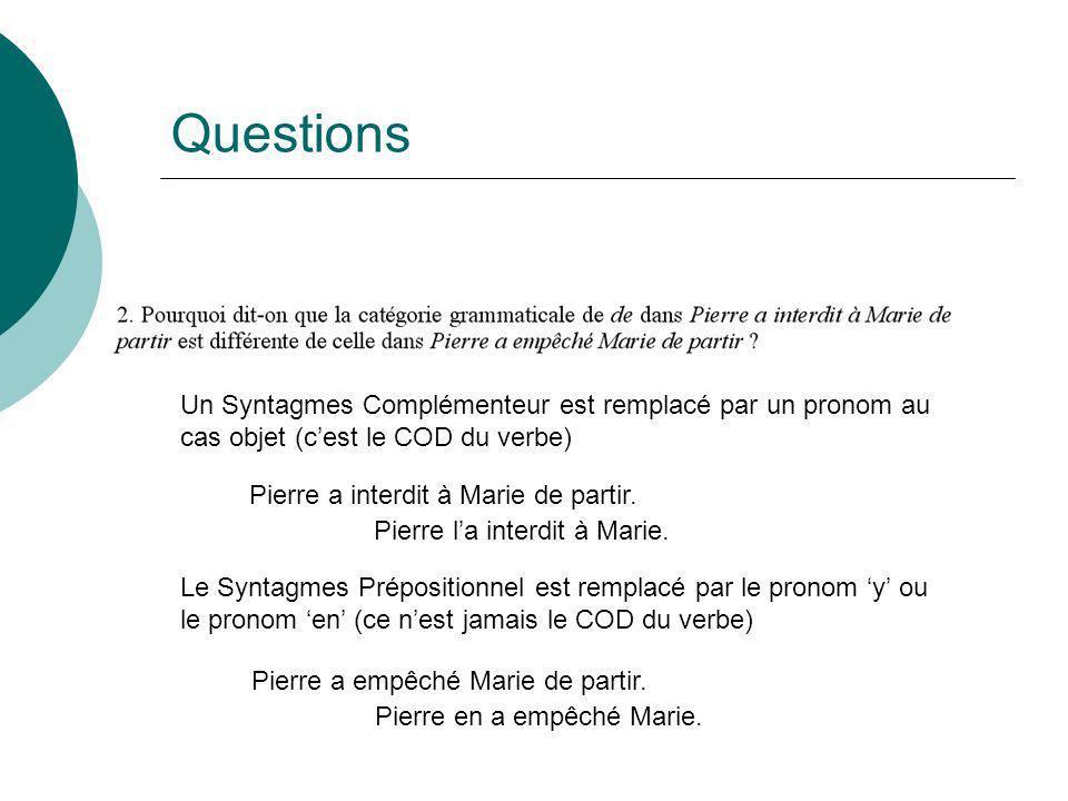 Questions Un Syntagmes Complémenteur est remplacé par un pronom au cas objet (c'est le COD du verbe)