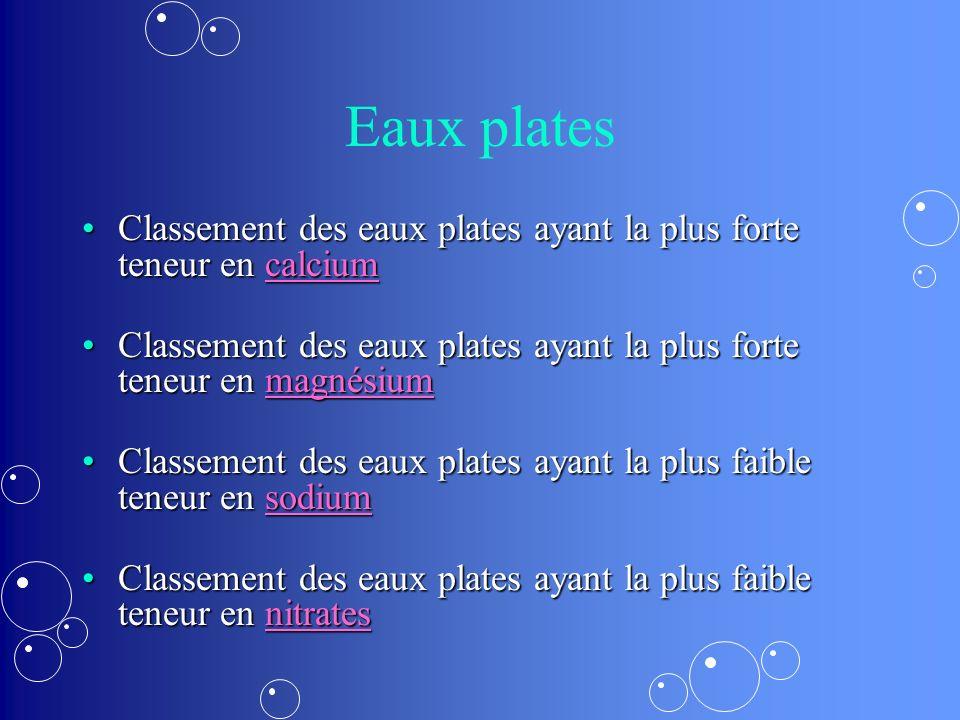 Eaux plates Classement des eaux plates ayant la plus forte teneur en calcium. Classement des eaux plates ayant la plus forte teneur en magnésium.