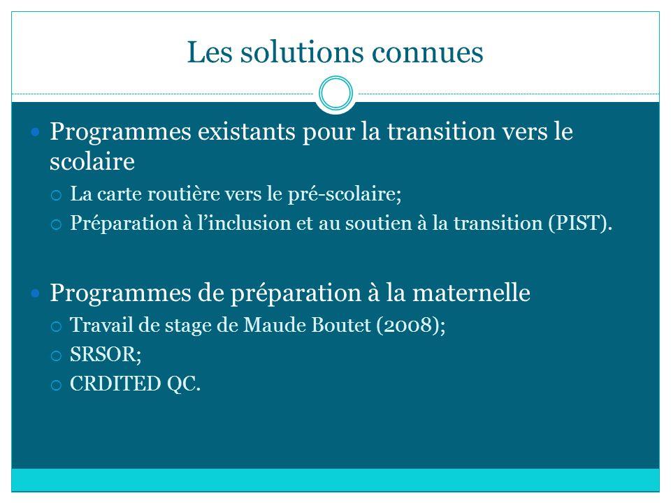 Les solutions connues Programmes existants pour la transition vers le scolaire. La carte routière vers le pré-scolaire;
