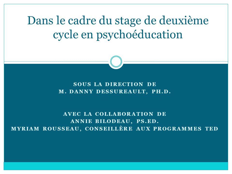 Dans le cadre du stage de deuxième cycle en psychoéducation