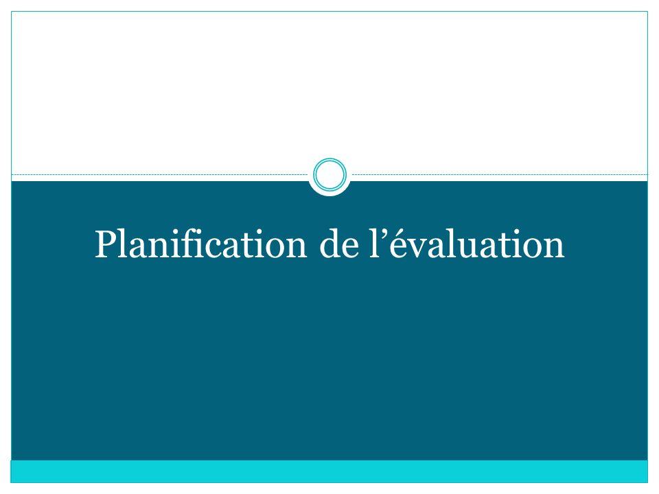Planification de l'évaluation