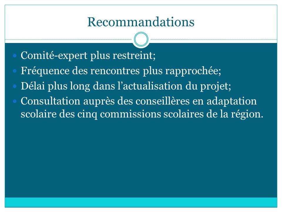 Recommandations Comité-expert plus restreint;