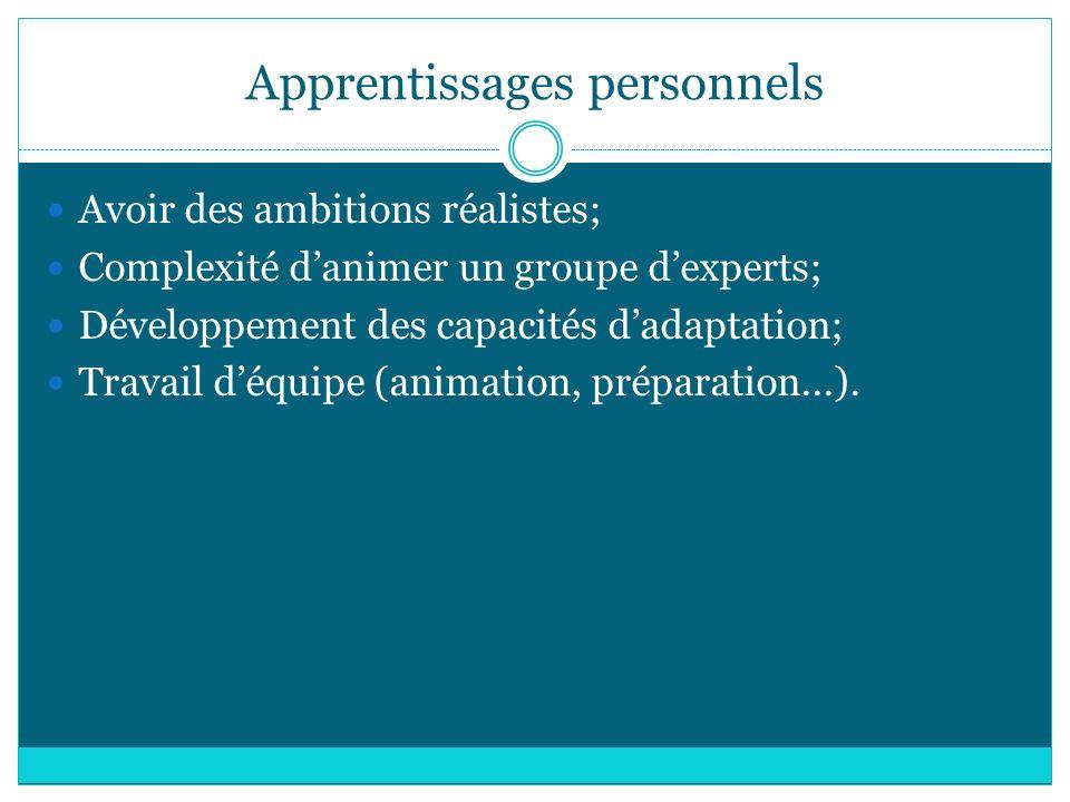 Apprentissages personnels