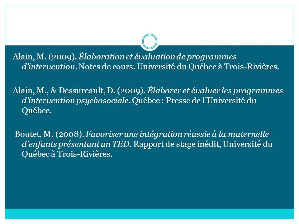 Alain, M. (2009). Élaboration et évaluation de programmes d'intervention.