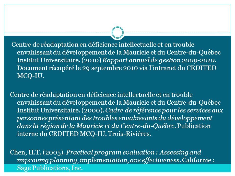 Centre de réadaptation en déficience intellectuelle et en trouble envahissant du développement de la Mauricie et du Centre-du-Québec Institut Universitaire.