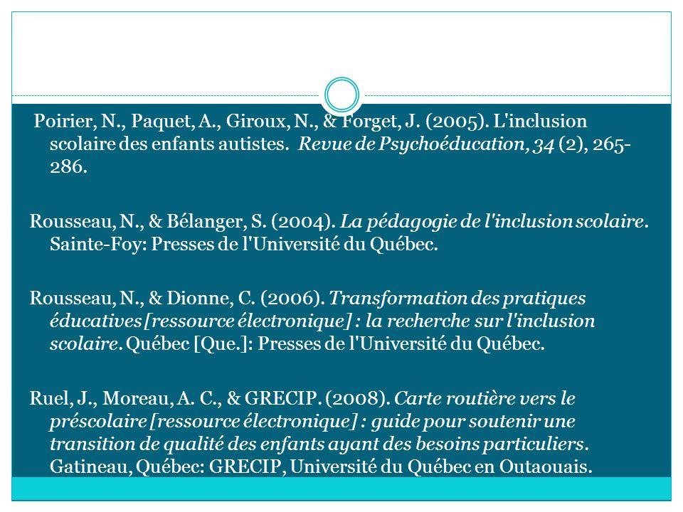 Poirier, N. , Paquet, A. , Giroux, N. , & Forget, J. (2005)