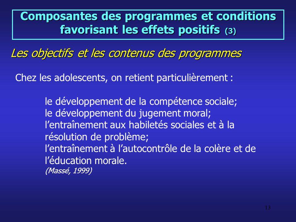 Les objectifs et les contenus des programmes